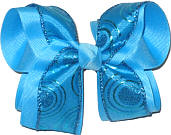 Blue Glitter Dots and Circles over Blue Large Double Layer Bow