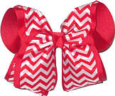 MEGA Red and White over Red School Bow