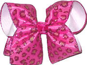 Shocking Pink and Green Glitter Cheeta Hot Pink Chiffon over White Large Double Layer Bow