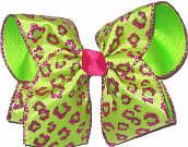 Shocking Pink and Green Glitter Cheeta Chiffon over Neon Lime Large Double Layer Bow
