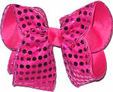 Shocking Pink Sequins over Shocking Pink Large Double Layer Bow