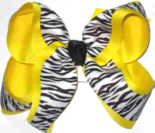 Black and White Tiger Stripe over Maize Large Double Layer Bow