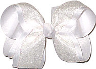 White Glitter over White Large Double Layer Bow