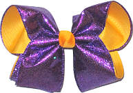 Glitter Regal Purple over Yellow Gold Large Double Layer Bow