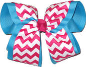 Shocking Pink and White Chevron Over Navajo Turquoise MEGA Extra Large Double Layer Bow