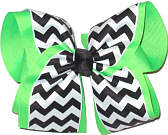 Black and White Chevron Over Neon Green MEGA Extra Large Double Layer Bow
