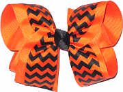 Large Orange and Black Chevron Large Double Layer Bow