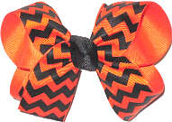 Medium Orange and Black Chevron Medium Double Layer Bow