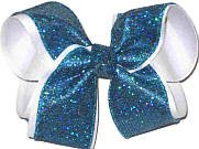 Sapphire Scale over White Large Double Layer Bow