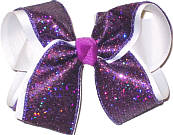 Purple Scale over White Large Double Layer Bow