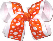 Orange over White Large Double Layer Bow