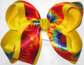 Tie Dye over Yellow Gold Large Double Layer Bow