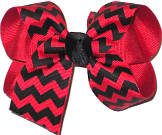 Black and Red Medium Double Layer Bow