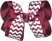 Beet and White Large Double Layer Bow
