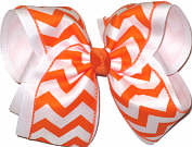 Orange and White Chevron Over White MEGA Extra Large Double Layer Bow