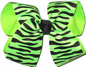 Neon Green and Black Zebra over Neon Green Large Double Layer Bow