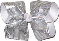 Silver Metallic over White Grosgrain Large Double Layer Bow