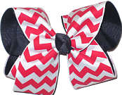 Red and White Chevron over Navy Grosgrain Large Double Layer Bow