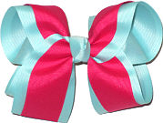 Light Aqua and Sarsaparilla Large Double Layer Bow