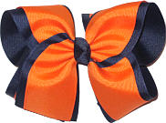 Orange and Navy MEGA Extra Large Double Layer Bow