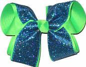 Aegean Blue Scale over Neon Green Large Double Layer Bow
