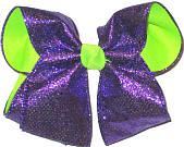Purple Heavy Glitter over Neon Lime Large Double Layer Bow