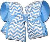Millenium Blue and White over Millenium Blue MEGA Extra Large Double Layer Bow