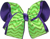 Neon Green Glitter Chevron over Purple MEGA Extra Large Double Layer Bow