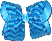 Blue and Blue Glitter over Blue Large Double Layer Bow