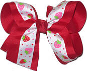 Strawberries on White over Red Large Double Layer Bow