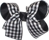 Black and White Medium Double Layer Bow