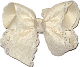 Ivory Lace over Ivory Grosgrain Medium Double Layer Bow