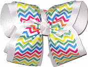 Multicolor Chevron over White MEGA Extra Large Double Layer Bow