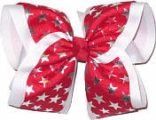 Red with Silver Lame' Stars MEGA Extra Large Double Layer Bow