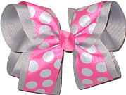 Hot Pink with Gray Dots over Millenium gray Large Double Layer Bow