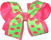 Neon Lime over Tutti Fruiti Large Double Layer Bow