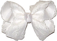 White Lace over White Grosgrain Medium Double Layer Bow
