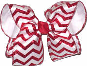 White and Red Glitter over WHite Large Double Layer Bow