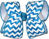 Turquoise and White over White Large Double Layer Bow