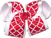 MEGA Red and White School Bow