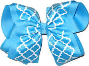 Mystic and White MEGA Extra Large Double Layer Bow