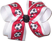 Soccer on Red over White Large Double Layer Bow