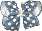 Denim with White Dots over White Large Double Layer Bow