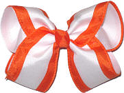 Orange and White Large Double Layer Bow