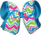 Hot Pink Apple Green Blue and White over Sapphire MEGA Extra Large Double Layer Bow