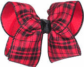 Large Red and Black over Red School Bow