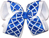 MEGA Electric Blue and White School Bow
