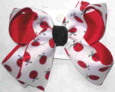 Lady Bug Print over Red Medium Double Layer Bow