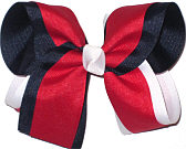 Navy Red and White Large Double Layer Bow