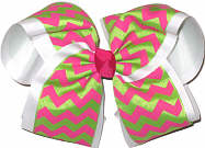 White Shocking Pink and Apple Green MEGA Extra Large Double Layer Bow